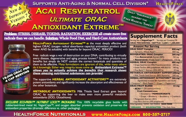 Acai Reserveratrol Ultimate ORAC Antioxidant Extreme